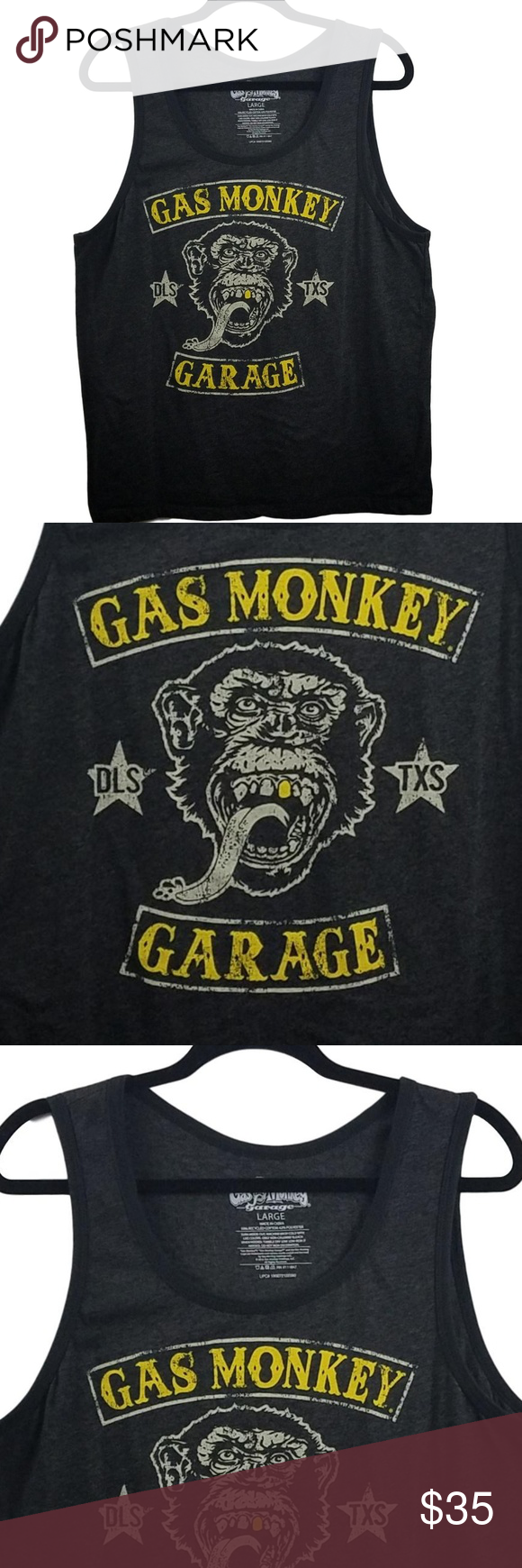 Gas Monkey Garage Hot Rod Muscle Tee Shirt Large Excellent Condition - Size Large - Recycled Cotton / Polyester Blend  Black with Yellow Lettering Graphics  DLS - TXS  Pit to Pit:  21 Armpit Opening 10.5 Length: 26  SKU  0819 - 4/19 Gas Monkey Garage Shirts Tank Tops #gasmonkeygarage Gas Monkey Garage Hot Rod Muscle Tee Shirt Large Excellent Condition - Size Large - Recycled Cotton / Polyester Blend  Black with Yellow Lettering Graphics  DLS - TXS  Pit to Pit:  21 Armpit Opening 10.5 Length: 26 #gasmonkeygarage