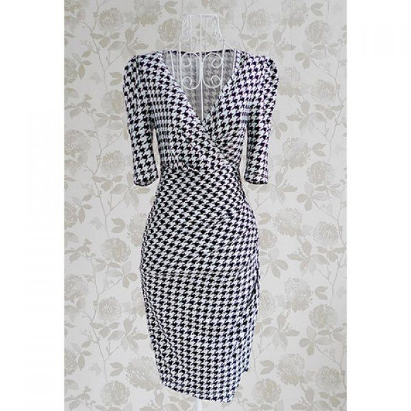 Women's Charming Checked Furcal Embellished Half Sleeves Bodycon Dress, AS THE PICTURE, M in Bodycon Dresses | DressLily.com