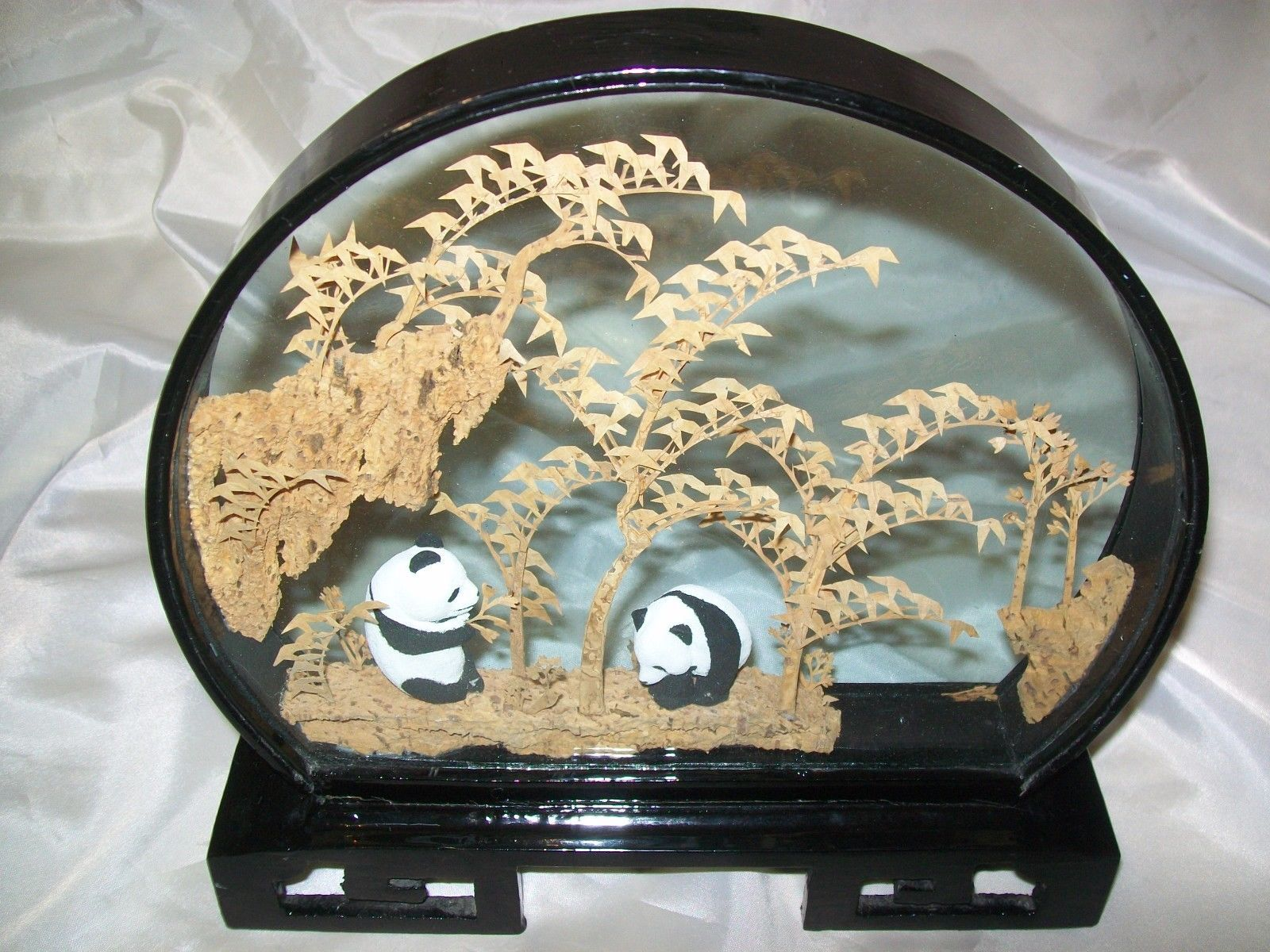 Pandas In Glass Chinese Black Lacquer Carved Cork Diorama