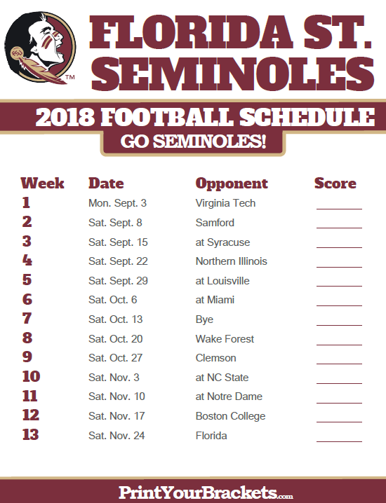 picture relating to Printable College Football Schedules known as 2018 Printable Florida Region Seminoles Soccer Plan