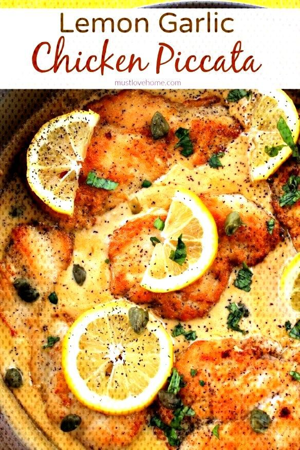 Pan fried chicken breasts smothered in a creamy lemon garlic sauce, this Lemon Garlic Chicken Picca