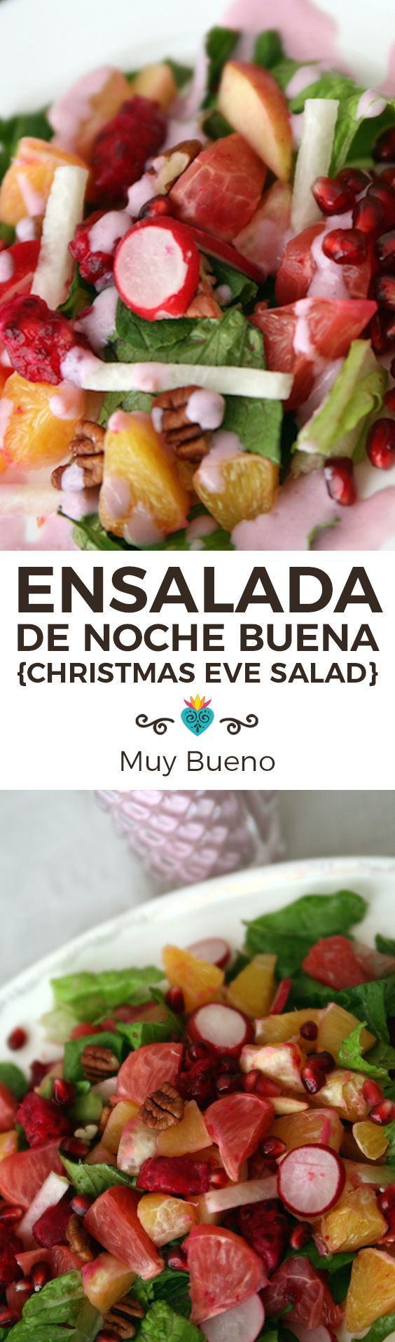 Buena refers to Christmas Eve in Mexico. Traditionally families have a big meal at midnight and Ensalada de Noche Buena is one of the healthy side dishes served. Most recipes use beets but we decided to go with the other juicy red fruits, pomegranates and prickly pears. The light and creamy salad dressing adds a war