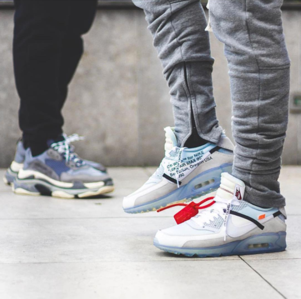 Buy Men's OFF WHITE x Nike Air Max 90 Ice 10X AA7293 100