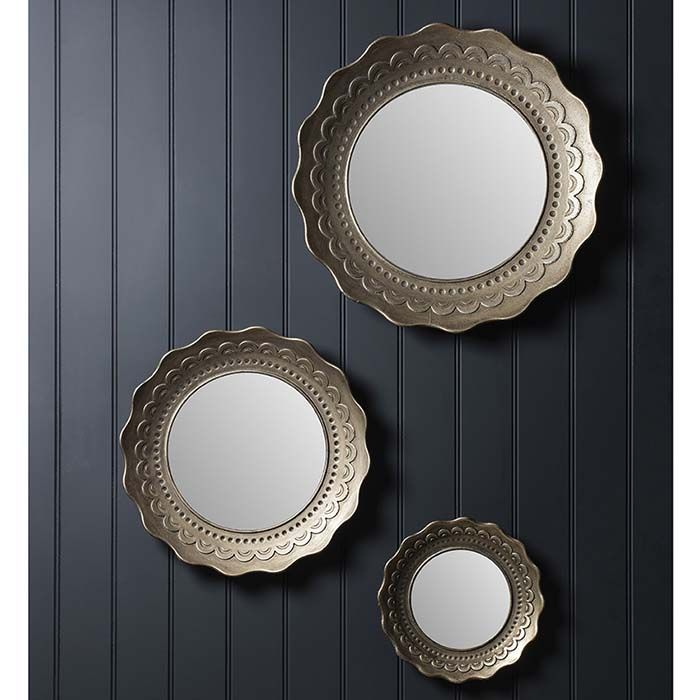 Decorative round mirror set of 3 finished in antique silvergold