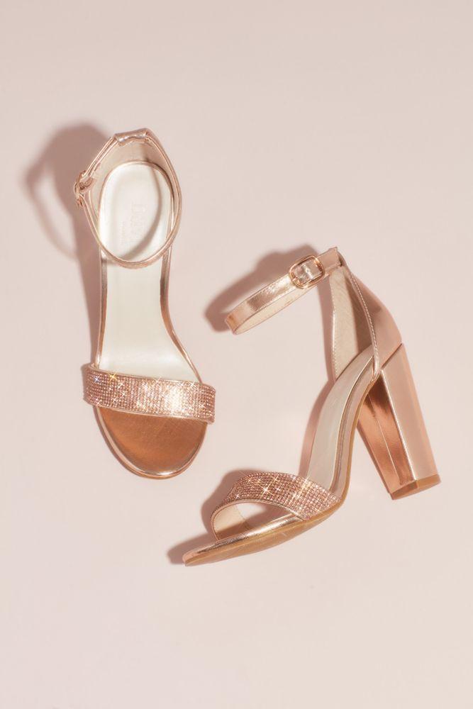 Crystal-Strap Metallic Block Heel Sandals Style BRYNNE, Rose Gold, 11W