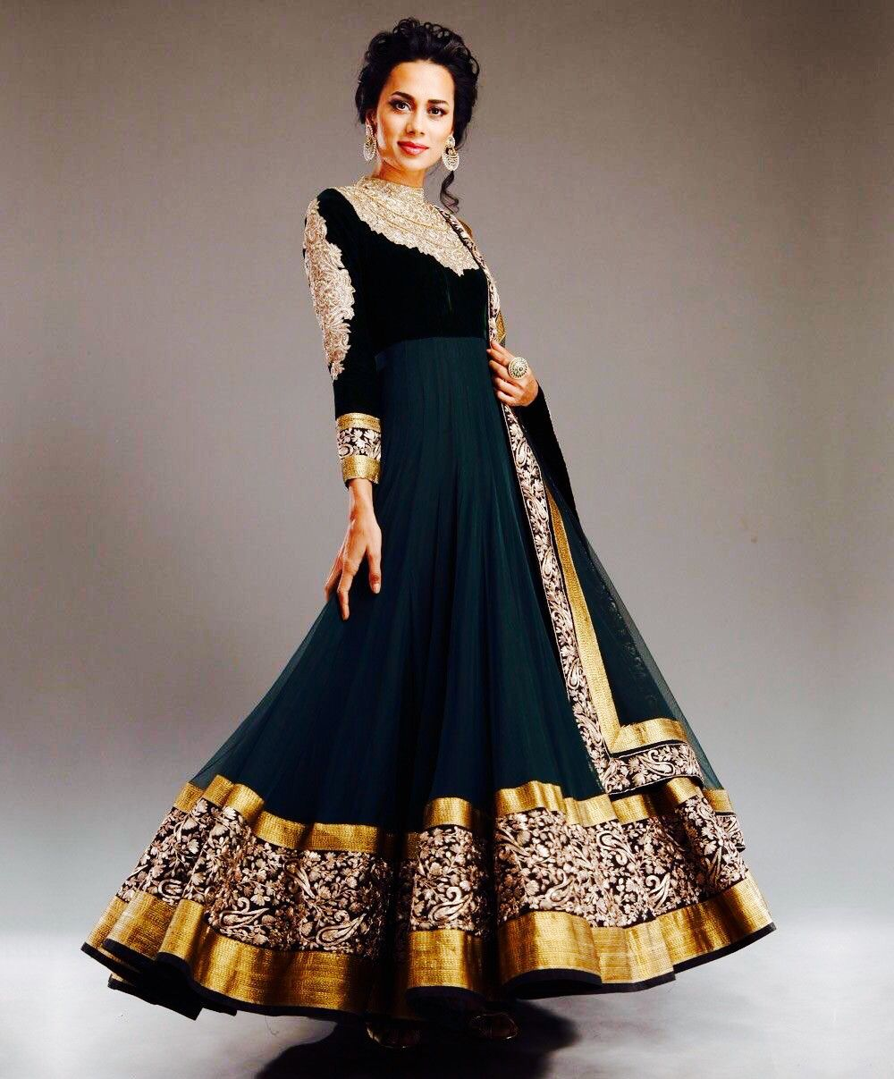 Green simple chiffon printed party wear anarkali style gown dhiya