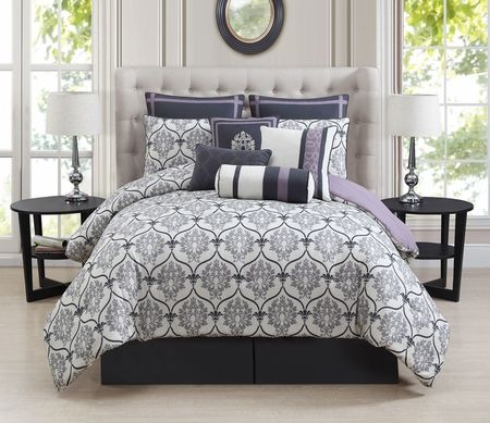 10 Piece Darla Gray And Lilac Comforter Set Lilac Bedding Bed Grey Comforter Sets