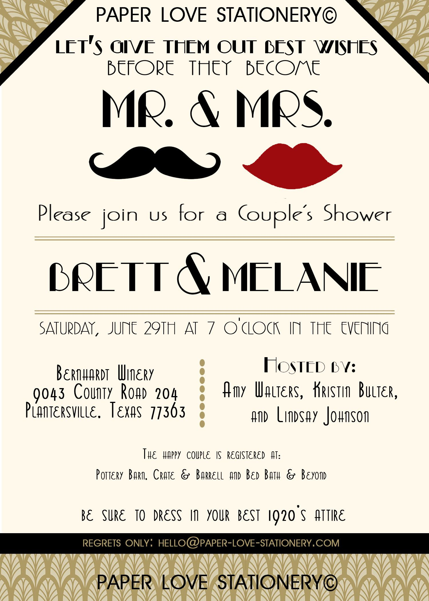 Great Gatsby Invitation - 1920\'s Bridal Shower Invitation - Art Deco ...
