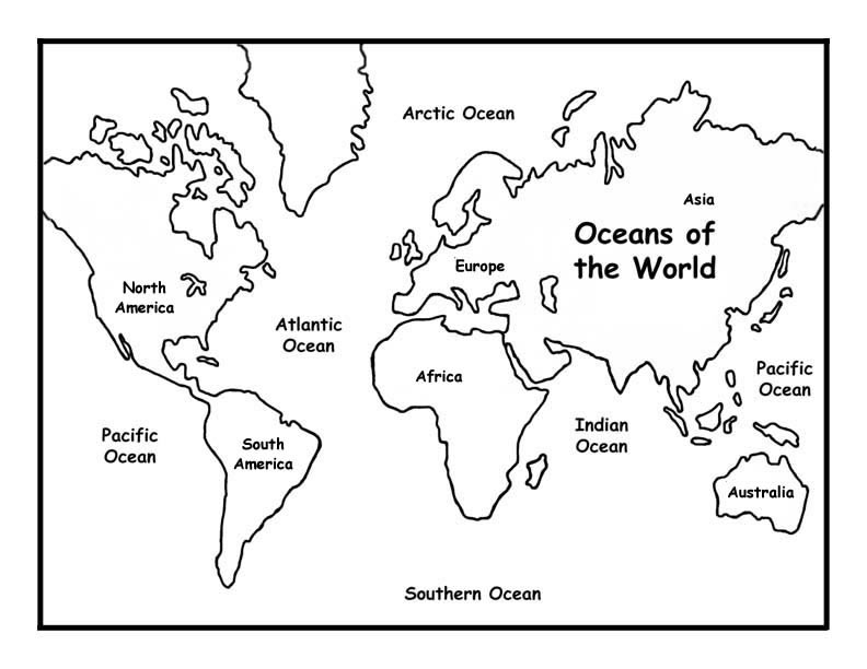 World Map Coloring Page For Kids World Map Coloring Page World Map Printable Oceans Of The World