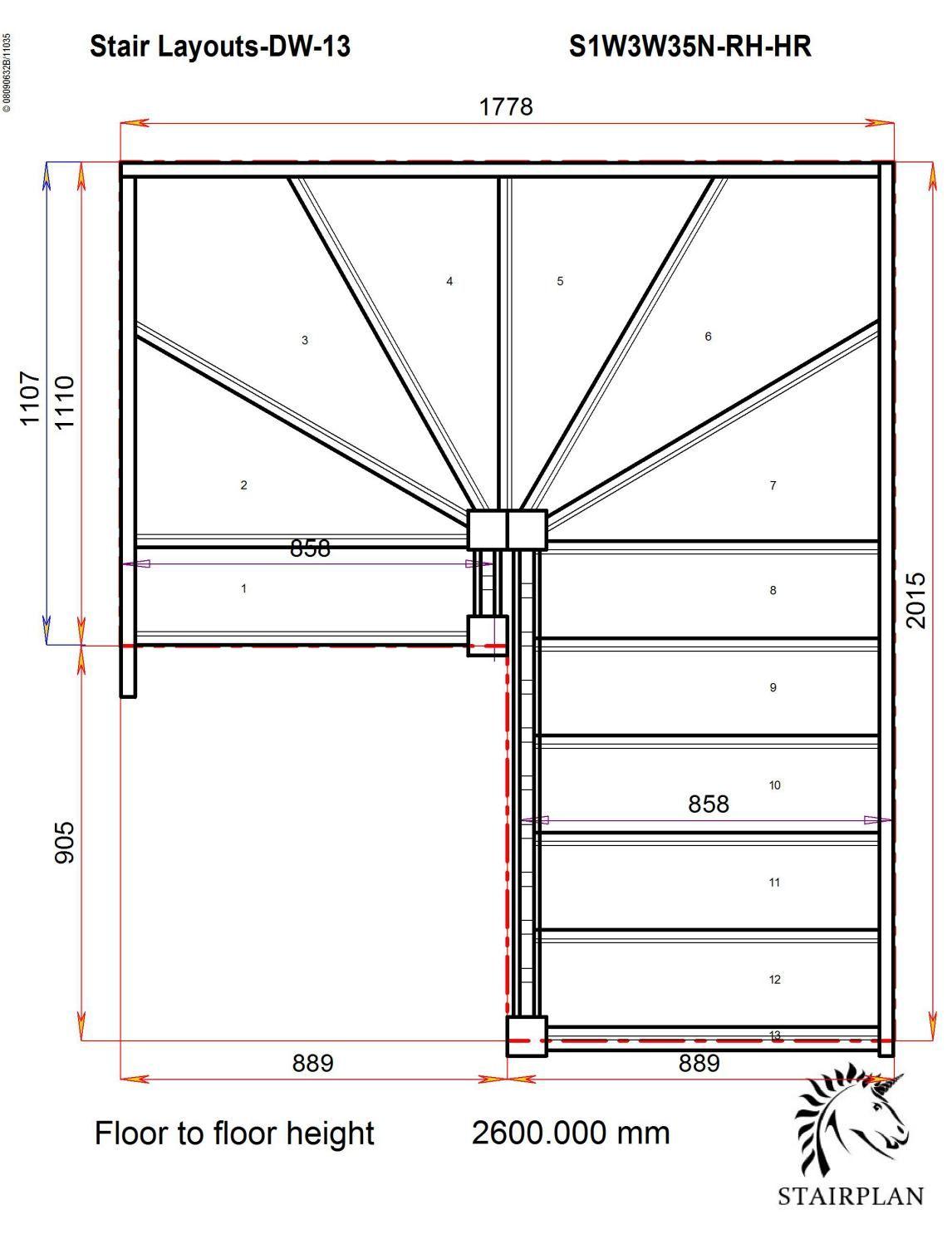 Best Tradestairs Rh Double Winder Handrail Лестничные 400 x 300