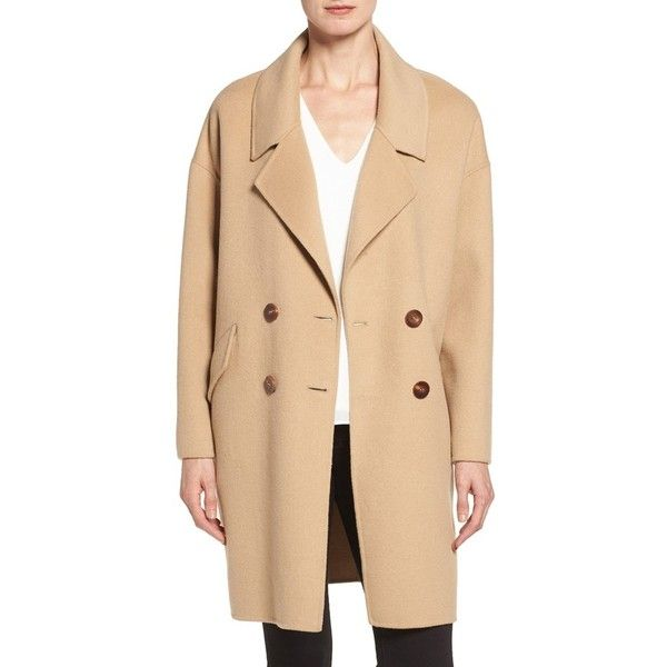 Women's Diane Von Furstenberg Double Face Double Breasted Walking Coat (1,145 ILS) ❤ liked on Polyvore featuring outerwear, coats, double breasted coat, wool blend coat, beige coat, diane von furstenberg and wool blend double breasted coat