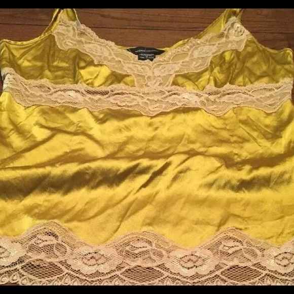Moda International Chartreuse lace trimmed cami Never worn; Moda International by Victoria's Secret; nylon blend Victoria's Secret Tops Camisoles