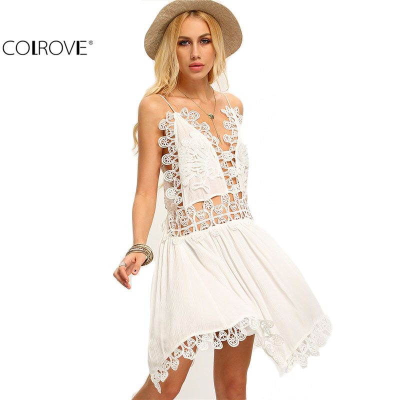COLROVE Hollow Out Beige Spaghetti Strap Crochet Patchwork Asymmetrical Dresses…
