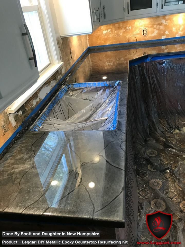 Dadanddaughter Applied Our Diy Metallic Epoxy Countertop