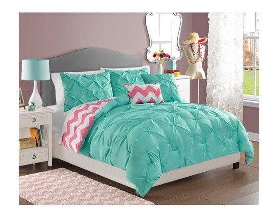 NEW Twin Full Queen Bed Bag 5 Pc Turquoise Pink Chevron Reversible  Comforter Set