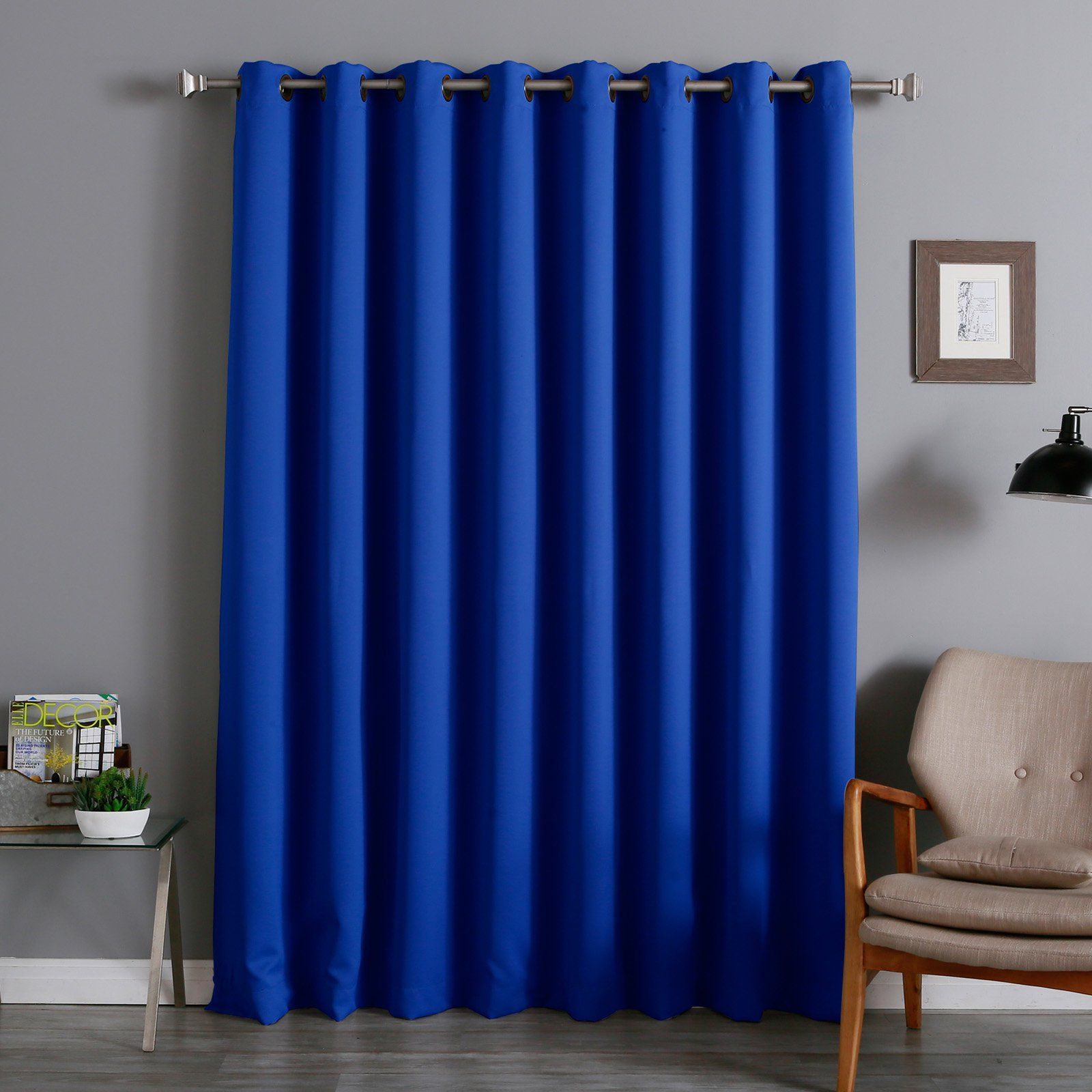 Best Home Fashion Wide Thermal Grommet Blackout Curtain Royal Blue