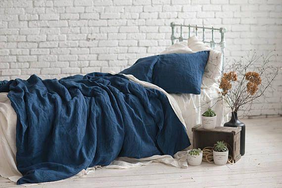 Linen Duvet Cover Navy Blue Queen King Twin Double Seamless