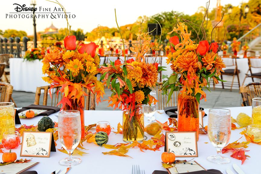 Fall wedding reception brides grooms bridesmaids groomsmen fall wedding centerpiece idea love the tiny pumpkins and fall leaves with place cards junglespirit Gallery