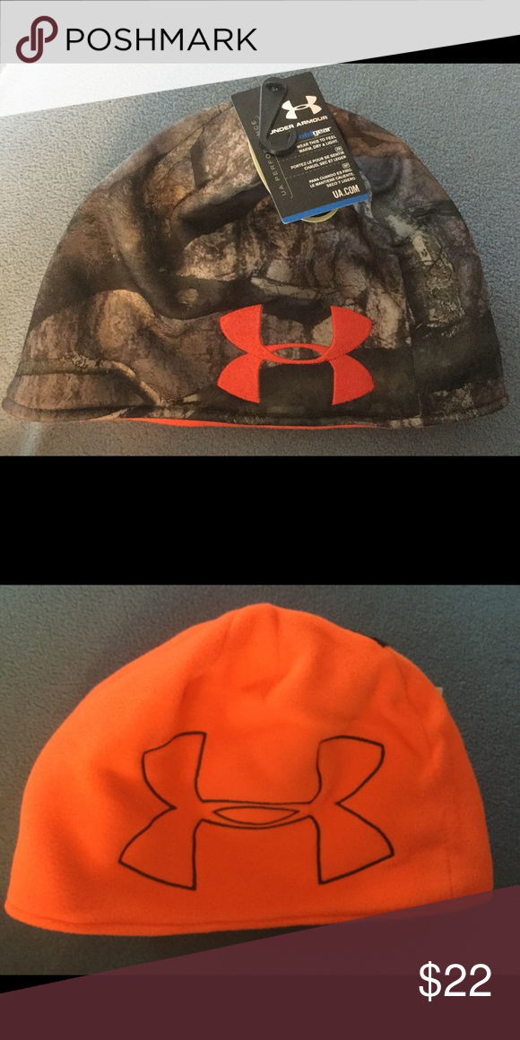 d410700063e Men s Under Armour Reversible Camo Hat Beanie Awesome Under Armour ColdGear  camoflauge green beanie hat with reversible orange side.