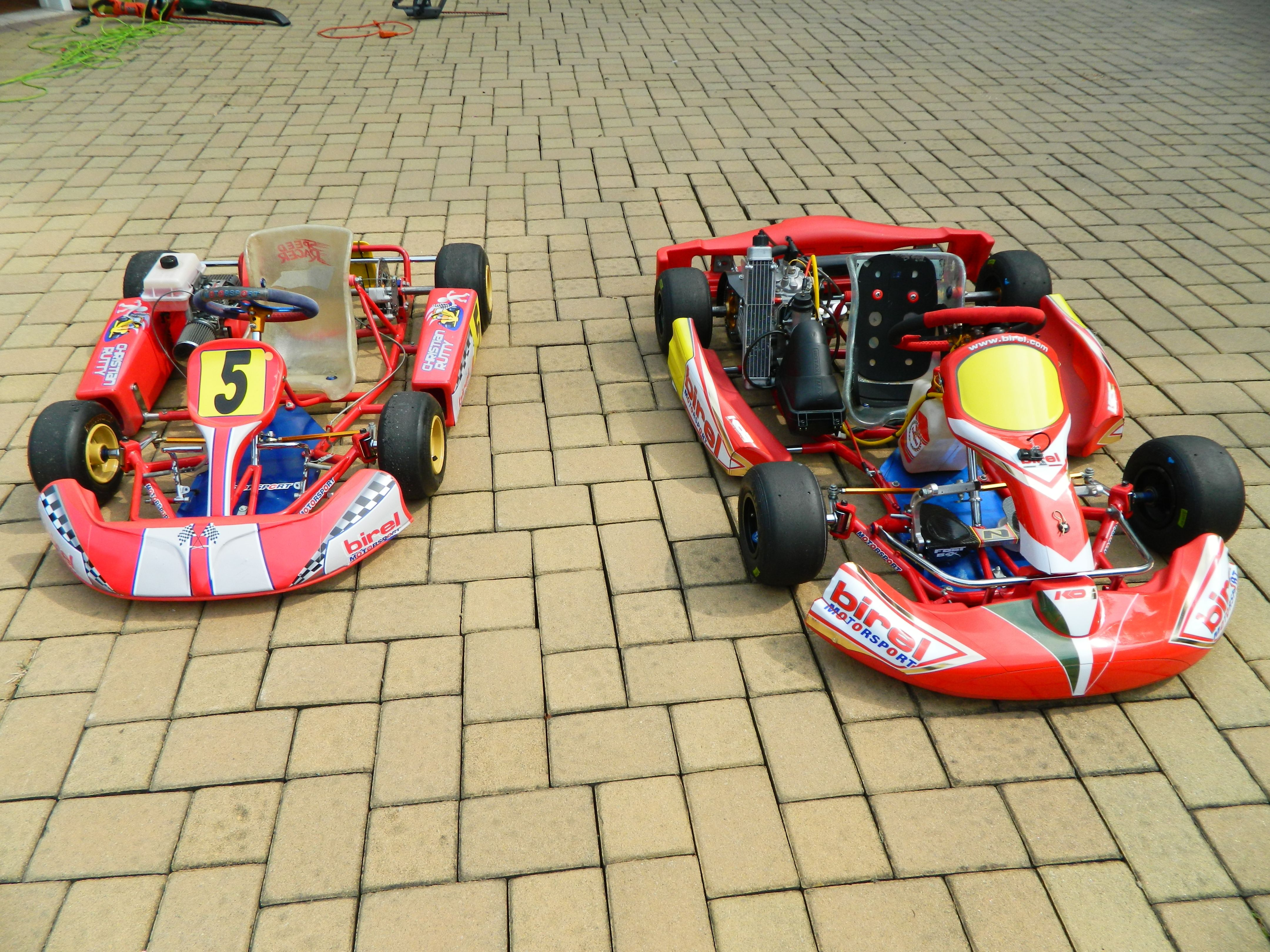 Birel B25 Kid Kart with Comer C-51 engine next to Birel C-28R ...