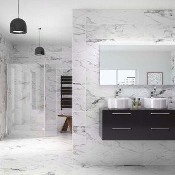 Sugarglaze Carrara 20x50 Marble Effect Tiles 500x200x8mm