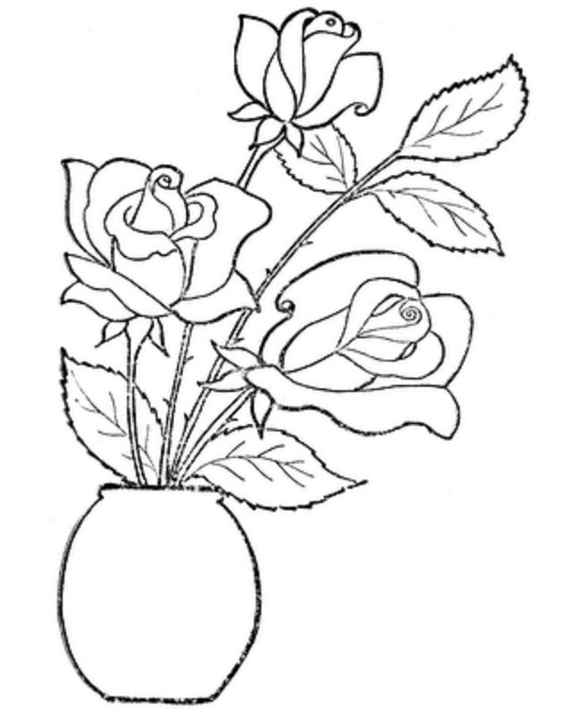Rose Coloring Pages In Vase Boyama Sayfalari Cizimler