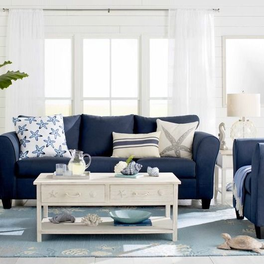Simple Stylish Coffee Table Ideas For Coastal Style Decorating Coastal Style Living Room Coastal Living Rooms Blue Living Room