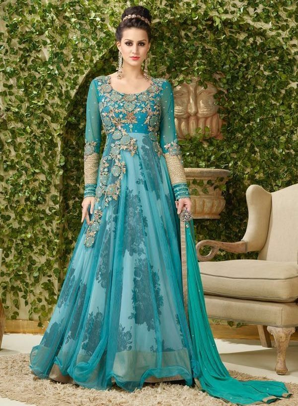 beeafba69a Festival Wear Turquoise Net Gown - VIPUL-4002 | PARTY WEAR GOWNS ...