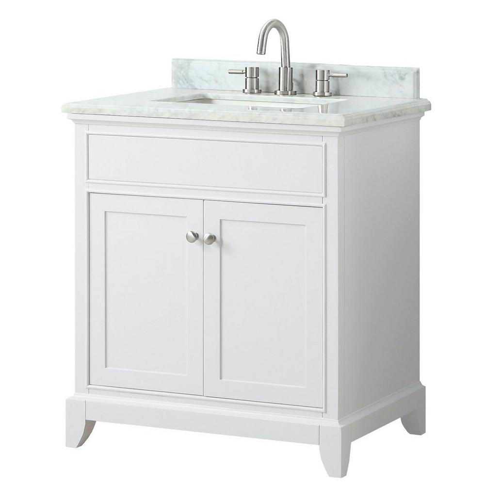 Nina 31 In Vanity With Carrara Marble Top In 2020 White Vanity Bathroom Vanity Marble Top
