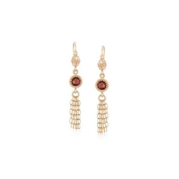 Ross-Simons Italian Garnet Tassel Drop Earrings in 14kt Yellow Gold,... ($359) ❤ liked on Polyvore featuring jewelry, earrings, garnet dangle earrings, dangle earrings, drop earrings, gold earrings and yellow gold dangle earrings