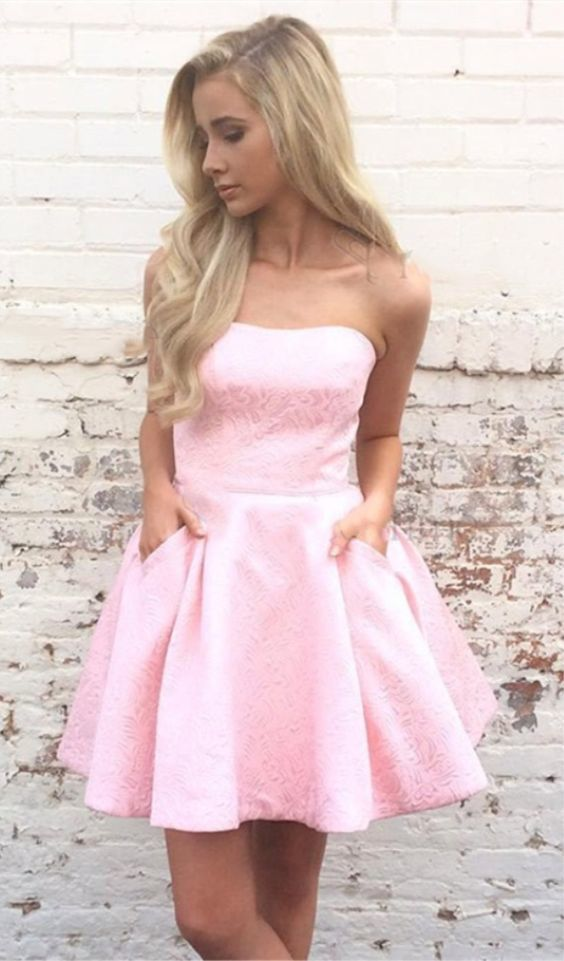 43d24c0609 A-Line Strapless Short Pink Satin Printed Homecoming Dress with Pockets