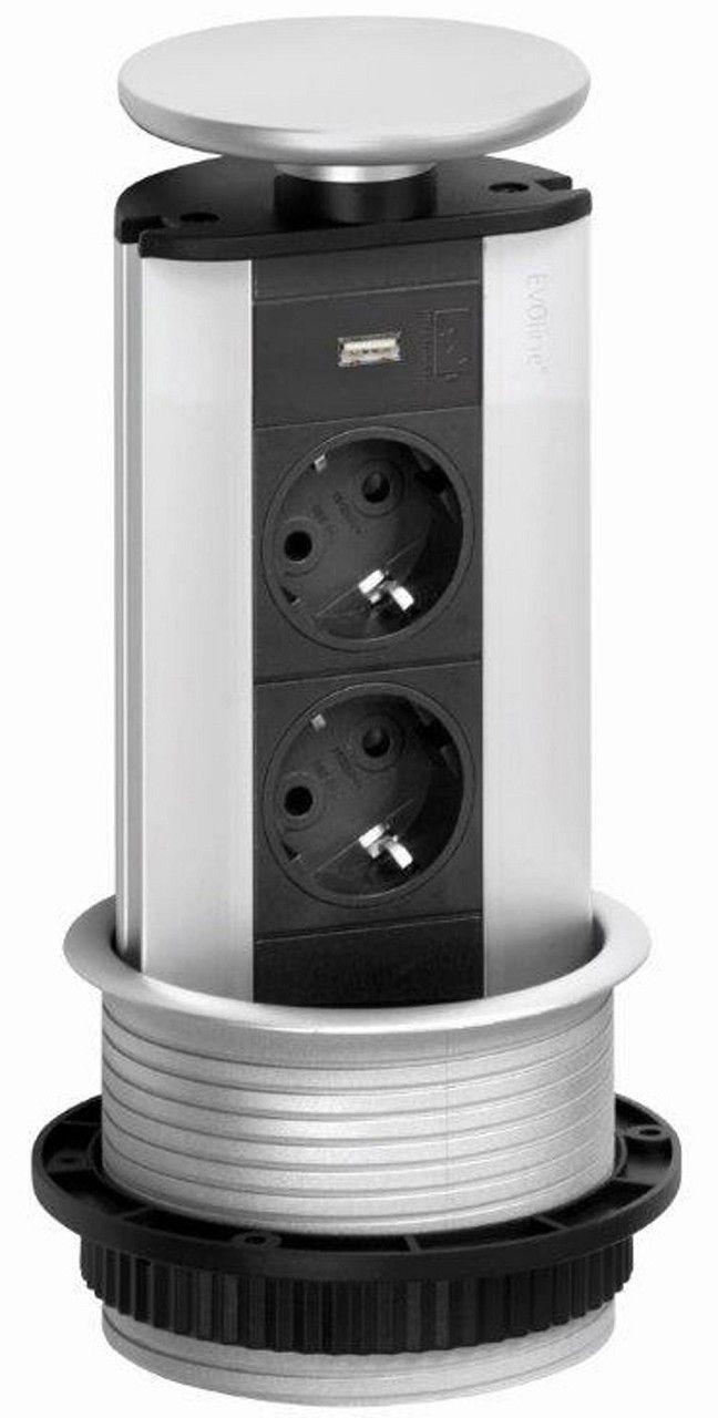 evoline port mit usb versenkbare steckdose steckdosen. Black Bedroom Furniture Sets. Home Design Ideas