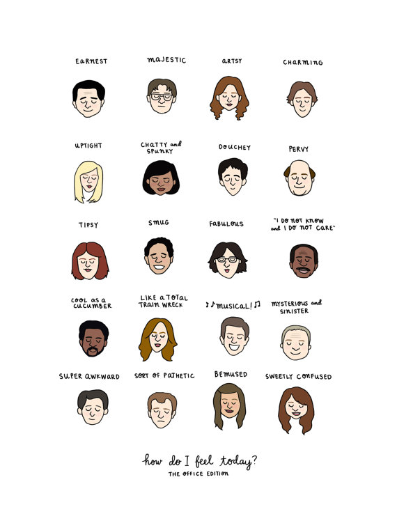 The Office Mood Chart Print Hand Illustrated Office Memes The