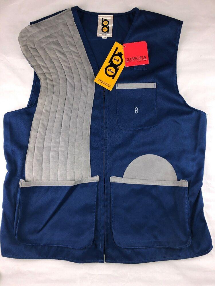 12ec8f7281132 vtg 70s Bob Allen NWT NOS deadstock Navy Blue Shooting Vest Hunting suede  Sz XL | eBay