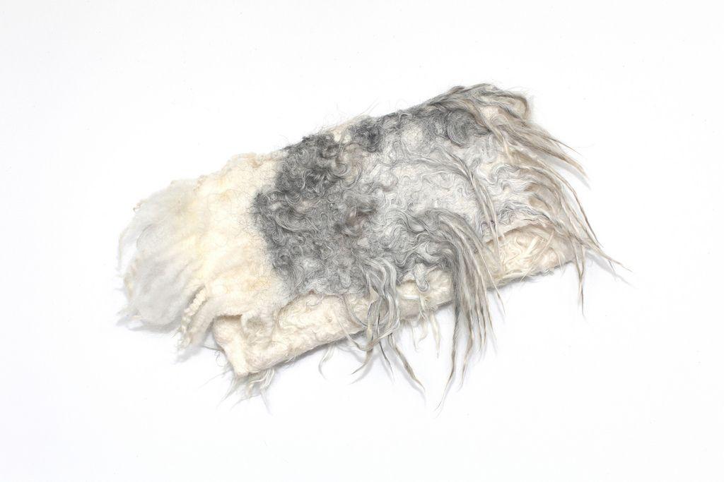 "Extra fine Australian merino wool, raw sheep locks, raw baby alpaca fleece, raw silk fabric, magnet button. Height 6"" (15 cm) Width outside 10 1/2"" (26,5 cm) Width inside 8 2/3"" (22 cm)"