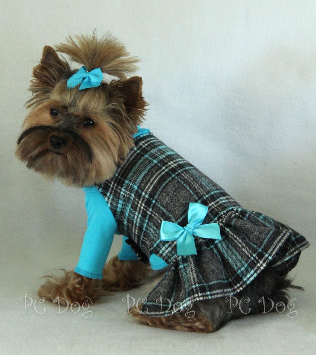 Aqua Plaid Dog Dress Dog clothes patterns, Pet clothes