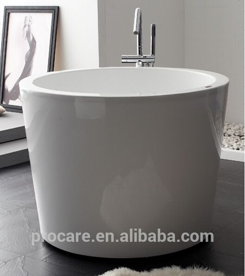 New Freestanding Seamless Modern Acrylic Bathtub 1100mm Round Soaking Tub Acrylic Bathtub Acrylic Tub Soaking Tub