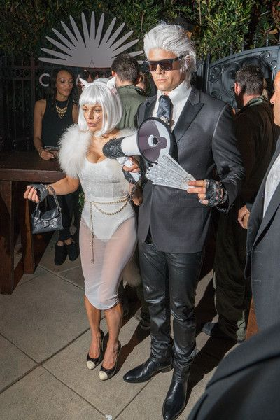 Fergie and Josh Duhamel as Choupette and Karl Lagerfeld Josh - celebrity couples halloween costume ideas