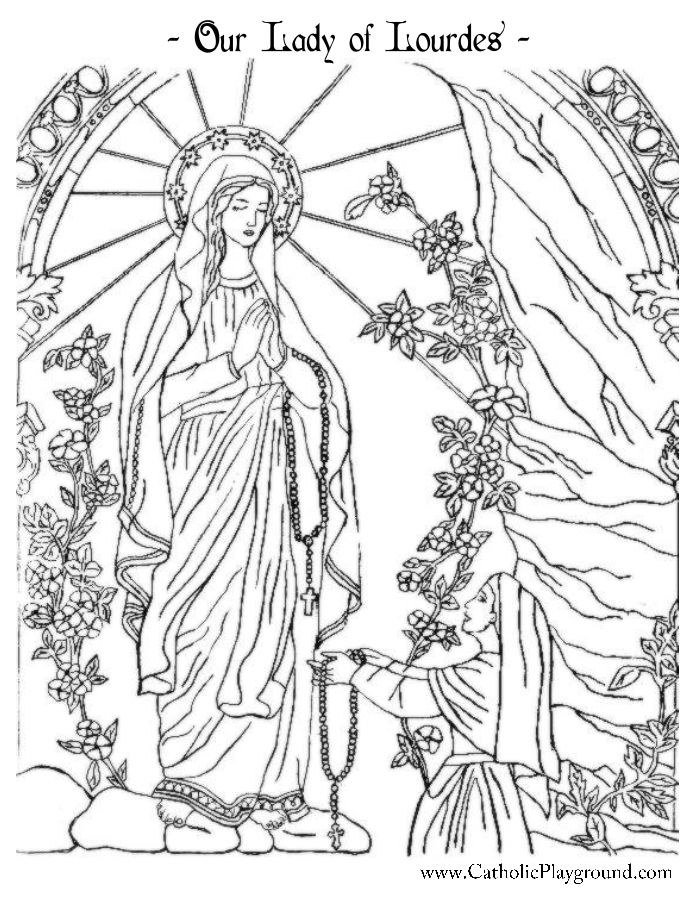 Our Lady Of Lourdes Coloring Page Catholic Playground Catholic Coloring Our Lady Of Lourdes Saint Coloring