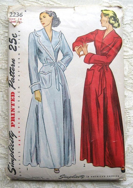 Vintage 50s Robe and Housecoat. Simplicity 2236 Sewing Pattern. Size 14  Bust 32
