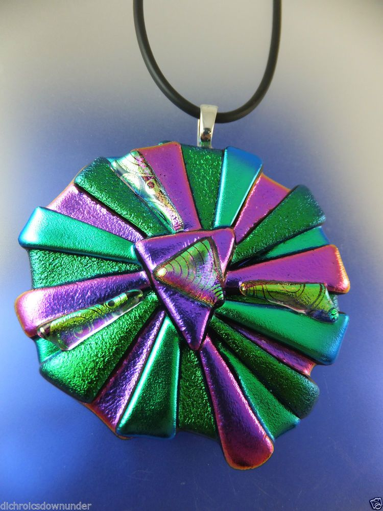 CRAZY DAISY DESIGN -  Handmade Dichroic Glass Pendant  + Black Cord by Cheryl Smith