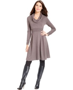 Calvin Klein Long-Sleeve Cowl-Neck Sweater Dress - Dresses - Women ...