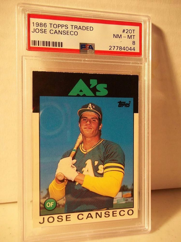 1986 topps traded jose canseco rookie psa nmmt 8 baseball
