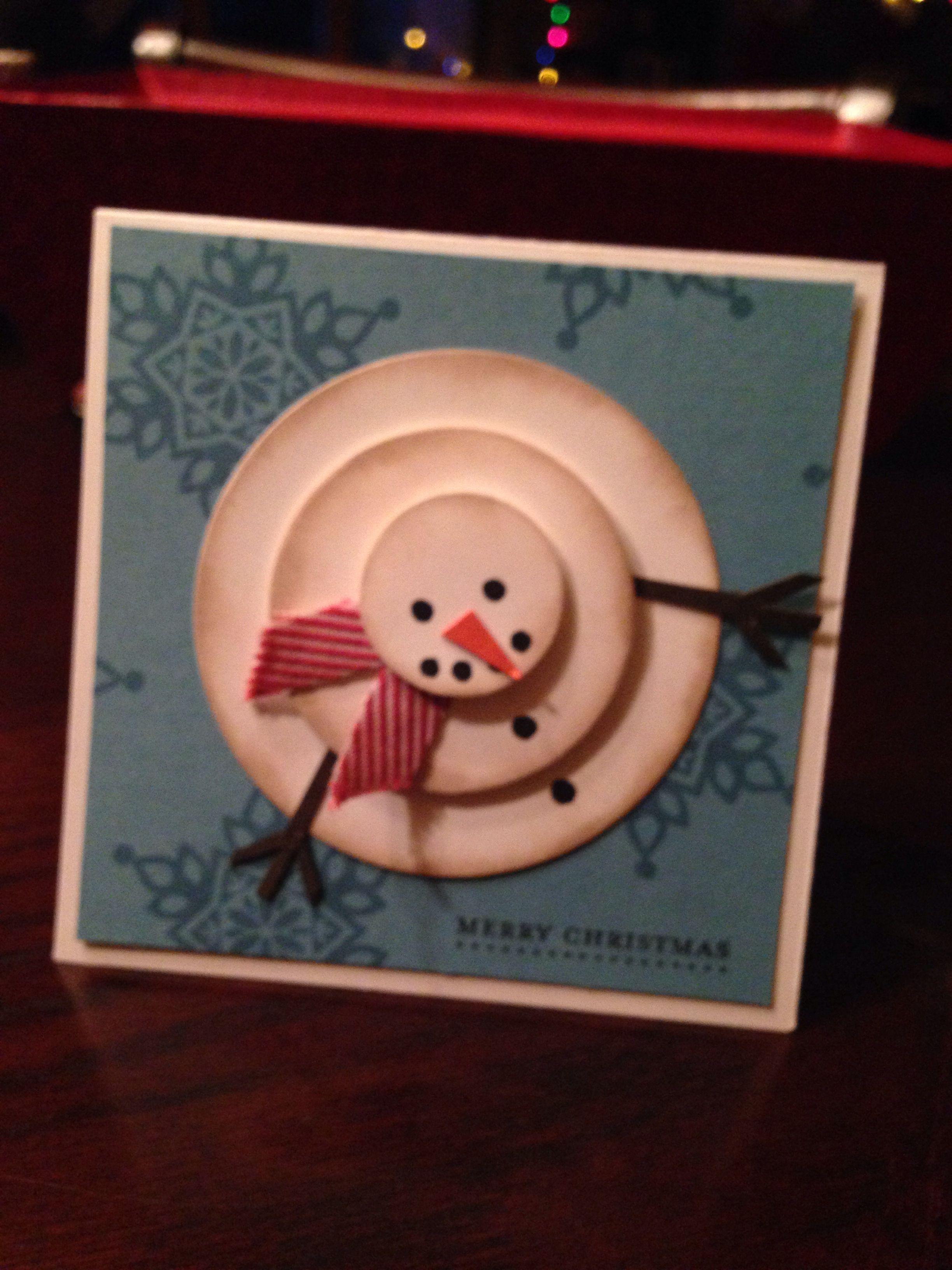 Schneemann Aus Kreisen Basteln Karten Weihnachten Und Dekoideen