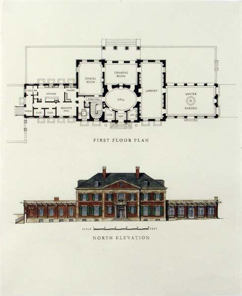 Georgian House Architectural Floor Plans Luxury House Plans Vintage House Plans