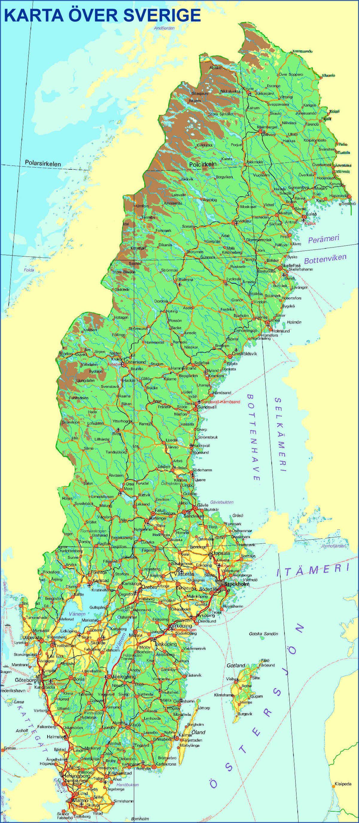 karta på sverige Sverige karta | Maps of Sweden | Pinterest karta på sverige