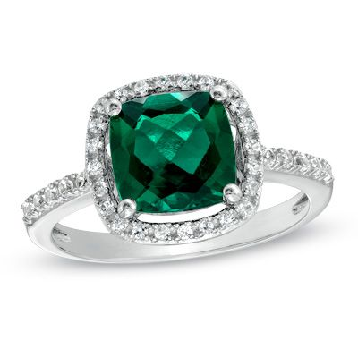 Zales 8.0mm Cushion-Cut Lab-Created Emerald, White Sapphire and Diamond Accent Frame Ring in Sterling Silver