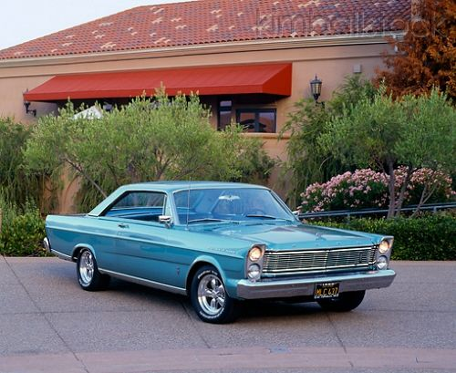 1965 Ford Galaxie 500 Turquoise 3 4 Front View On Pavement By