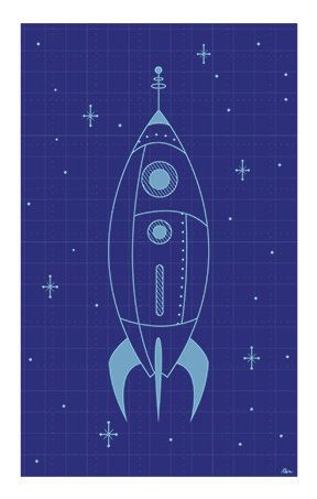 Rocket blueprint beans spaces and illustrations vintage inspired rocket blueprint print illustrated by rani bean printed on epson professional paper size may vary slightly due to white border frames malvernweather Image collections