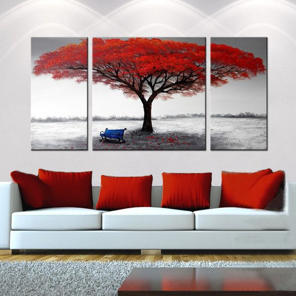 Hand Painted U0027The First Snowflakesu0027 3 Piece Gallery Wrapped Canvas Art